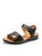 Women Daily Print Stitching Leather Comfy Lightweight Hook Loop Sandals - Black