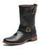 Men Square Toe Double Metal Monk Strap High Top Motorcycle Boots - Black