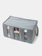 1 PC 65L Sterilization Portable Bamboo Charcoal Can See Through Three Compartments Clothing Storage Box Folding Bag - Gray