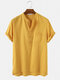 Mens 100% Cotton Solid Casual Stand Collar Henley Shirts - Yellow