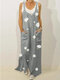 Floral Print Straps Loose Vintage Maxi Dress For Women - Grey