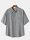 Plus Size Mens Vertical Stripes Short Sleeve Casual Henley Shirt - Gray