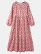 Floral Print Puff Sleeve Plus Size Casual Long Dress for Women - Orange