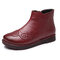 Handmade Stitching Leather Warm Fur Ankle Women Boots