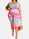 Gradient Color Contrast Tank Top & Knotted Bodycon Skirt Plus Size Suit - Pink