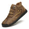 Men Rubber Toe Hand Stitching Leather Lace Up Ankle Boots - Khaki