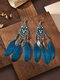 Alloy Vintage Ethnic Color Dipping Oil Heart-shaped Long Feather Earrings - Blue