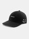 Unisex Cotton Embroidery Funny Face Young Outdoor Sunshade Baseball Hat - Black