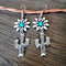 Vintage 925 Silver Plated Cactus Women Earrings Sun Flower Turquoise Earrings - Silver