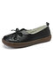 Women's Leather Slip On Solid Color Woven Bowknot Asakuchi Flats Loafers Shoes - Black