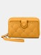 Women Multifunction Removable Card Case Quilting 6.5 Inch Phone Bag Wallet - Yellow