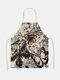 تنظيف بنمط الفراشة Colorful مآزر الطبخ المنزلي مريلة المطبخ للطبخ ارتداء مرايل الكبار من القطن والكتان - #19
