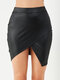 Solid Color Asymmetrical Leather Casual Short Skirt for Women - Black