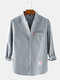 Mens Cotton Solid Color Loose Casual Long Sleeve Shirts With Pocket - Grey