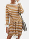 Striped Print Knotted Knitted O-neck Long Sleeve Casual Dress for Women - Khaki