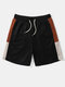 Mens Knitted Side Patchwork Casual Drawstring Shorts - Black