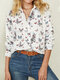 Butterfly Print Button Long Sleeve Lapel Casual Shirt For Women - White