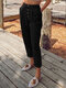 Casual Solid Color Button Pants With Pocket - Black