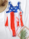 Plus Size Women Abstract American Flag Print High Neck One Piece Slimming Swimsuit - White