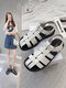 Women Casual Black And White Stitched Weaving Hollow-out Fisherman's Sandals - White
