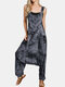 Tie-dyed Drop Crotch Overall Pocket Casual Harem Romper