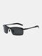 Men Metal Square Half Frame Smart Color-changing Polarized Anti-UV Sunglasses - #02
