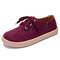 Women Solid Color Soft Suede Comfy Wearable Lace-up Flats - Purple