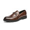 Men Round Toe Veins Non Slip Hard Wearing Casual Loafers Shoes - Brown