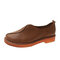 Retro Lazy Round Toe Stitching Slip On Flats for Women - Brown