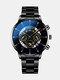 Business Men Watch Steel Band Waterproof Calendar Quartz Watch - Yellow Needle Black Band