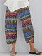 Vintage Print Elastic Waist Casual Pants For Women - Blue