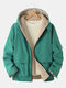 Mens Two-Sided Wearable Zip Up Applique Sherpa Warm Hooded Overcoats - Green