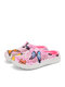 SOCOFY Butterfly Print Comfy Light Weight Warm Slip On Outdoor Cotton Slippers Flat Mule Shoes - Pink