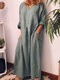 Loose Solid Color Long Sleeve Casual Maxi Dress - Grey