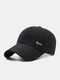 Men Cotton Solid Color Herringbone Pattern Letter Label Ear Protection Windproof Warmth Adjustable Baseball Cap - Black Without Ear Protection