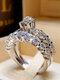Trendy Geometric Metal Diamond Rings Temperament Rhinestone Rings - #11
