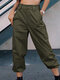 Solid Color Pocket Casual Cargo Pants For Women - Green