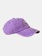 ユニセックスウォッシュドコットンソリッドカラースネークパターンプリントオールマッチファッションベースボールキャップ - 紫