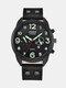 Fashion Leather Band Watches Mens Calendar Army Sports Quartz Watch - Black