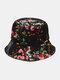 Women & Men Floral Overlay Print Pattern Casual Outdoor Visor Bucket Hat - #09