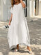 Plus Size Solid O-neck Pocket Casual Tee Dress - White