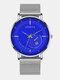 Alloy Steel Business Casual Mesh Belt Calendar Mens Quartz Watch - Blue+Silver