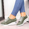 Large Size Women Casual Solid Color Round Toe Lace Up Wedges Loafers - Green