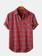 Mens Plaid Lapel High Low Short Sleeve Shirts With Pocket - Red