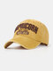 Men Cotton Letter Embroidery Sunshade Outdoor Casual Baseball Hat - Yellow