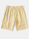 Mens Solid Color Seam Detail Sport Drawstring Mid Length Shorts - Beige