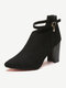 Women Casual Classic Solid Color Back-zip Pointed Toe Block Heel Ankle Boots - Black
