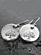 Vintage Geometric Concave Round Women Earrings Tree Of Life Pendant Earrings - Silver