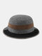 Men Felt Stitching Contrast Color Street Trend Retro Personality Bucket Hat Jazz Top Hat - Dark Gray