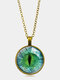 Vintage Alloy Glass Printed Women Necklaces Green Cat Eye Pendant Sweater Chain - Bronze